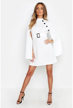 Womens Ecru Funnel Neck Button Belted Cape Sleeve Dress
