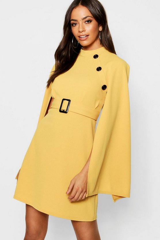 Funnel Neck Button Belted Cape Sleeve Dress