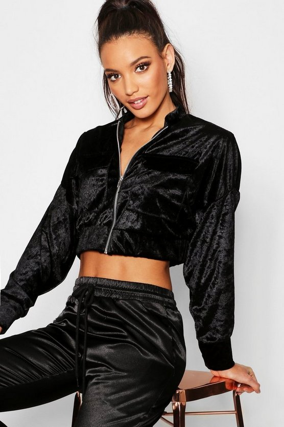 Womens Black Batwing Pocket Velvet Bomber