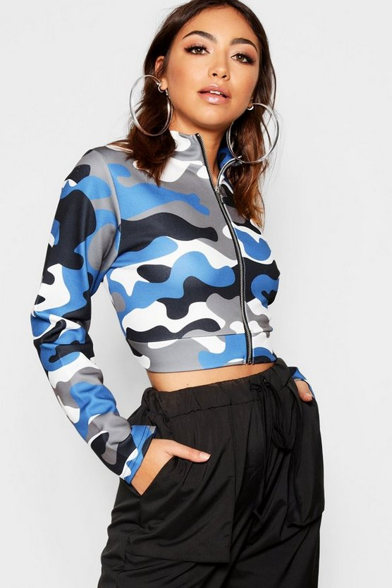 Womens Blue Camo Funnel Neck Bomber