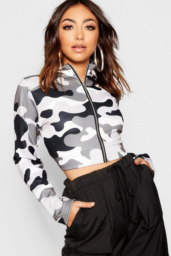 Camo Funnel Neck Bomber