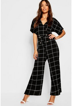 Womens Black Wrap Window Pane Check Jumpsuit