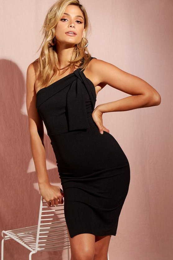 Womens Black One Shoulder Drape Detail Midi Dress