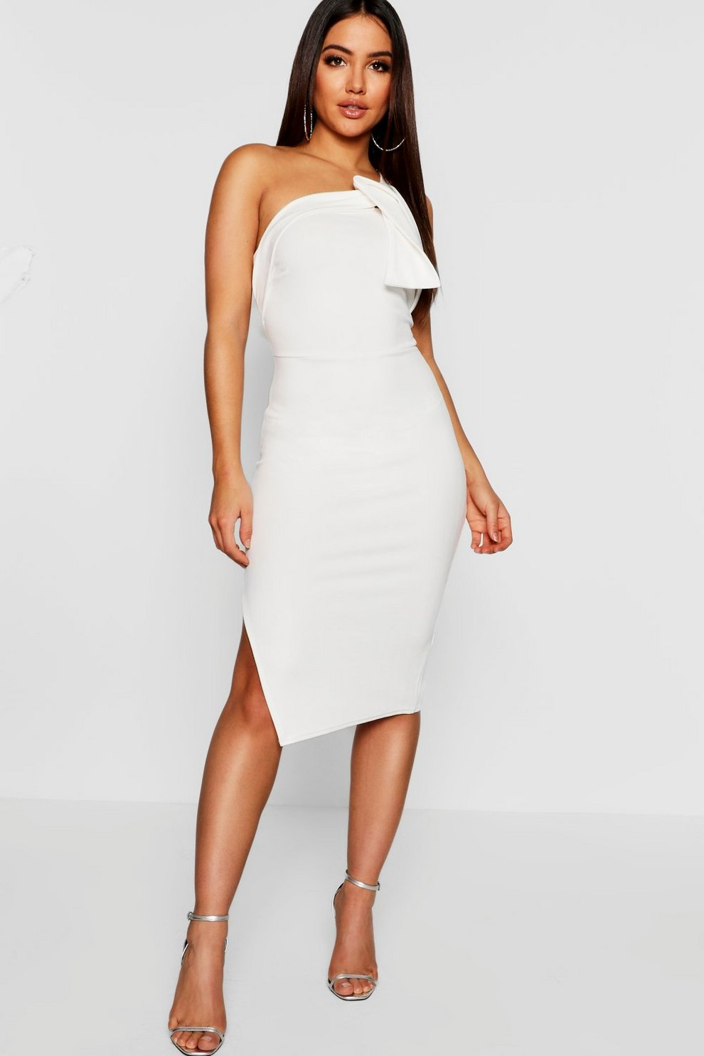 5db029a61 One Shoulder Drape Detail Midi Dress