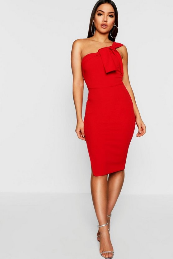 One Shoulder Drape Detail Midi Dress