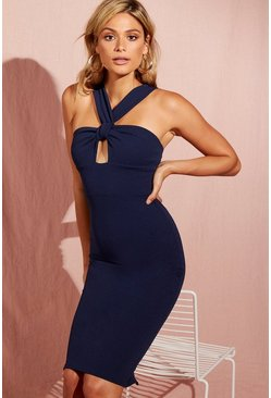 Womens Twist Front Detail Midi Dress