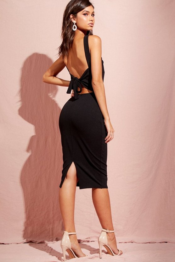 Halterneck Cross Back Midi Dress