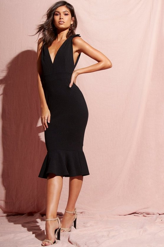 Plunge Front Peplum Hem Midi Dress