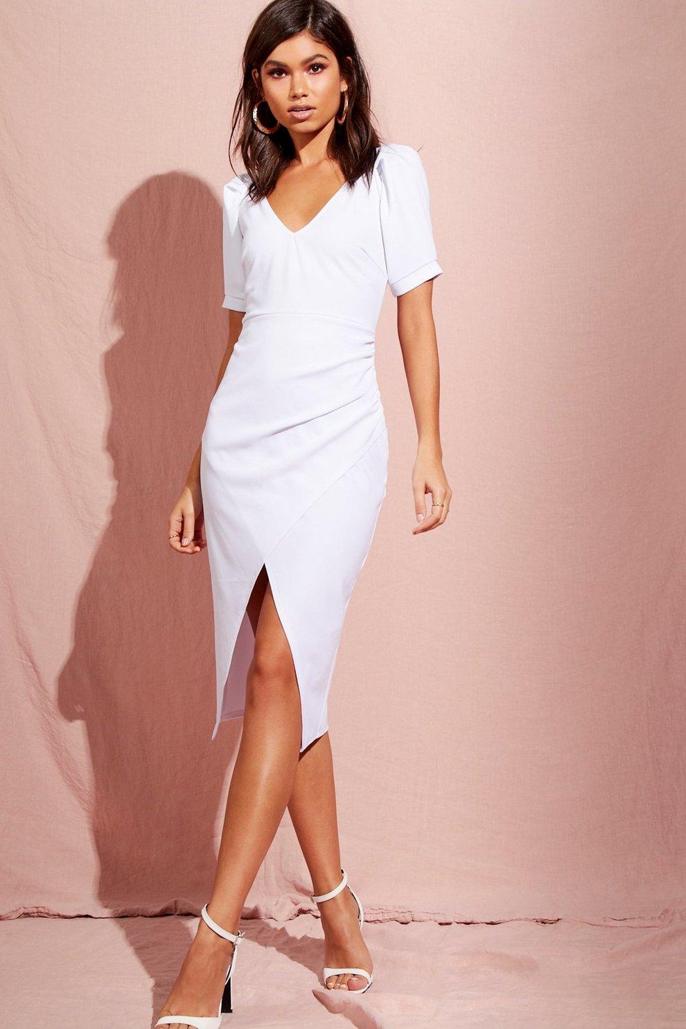 d6ce3c5d1cd Womens White Puff Sleeve Wrap Midi Dress
