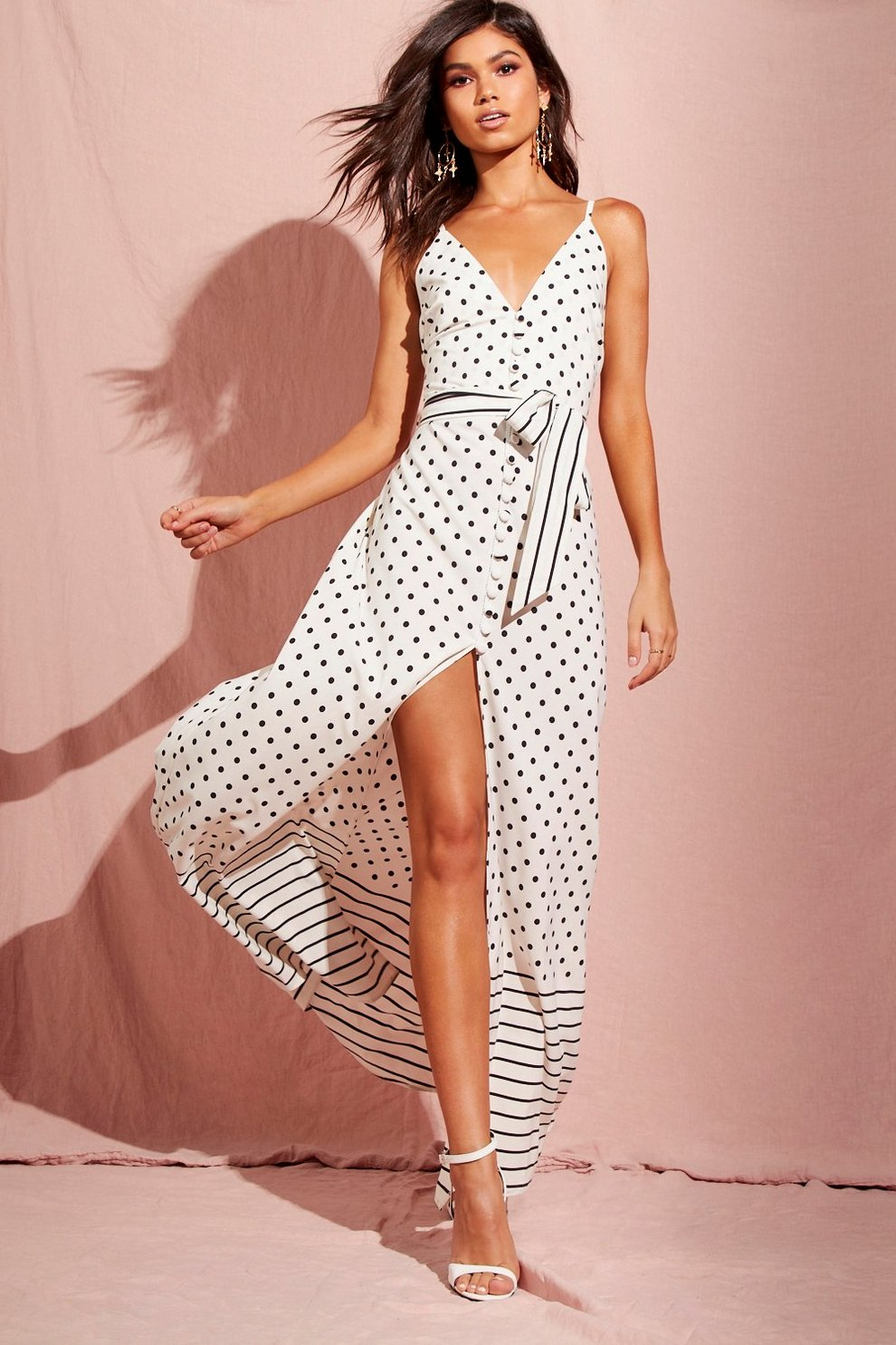 7a19e56c38 Womens Ivory Spot And Stripe Mixed Print Maxi Dress