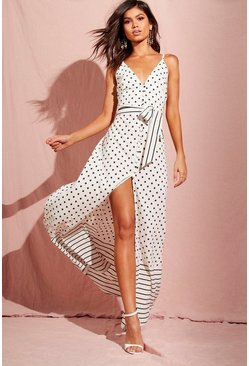 Womens Ivory Spot And Stripe Mixed Print Maxi Dress
