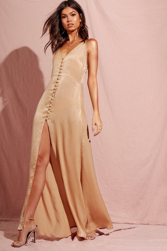 Hammered Satin Button Through Maxi Dress