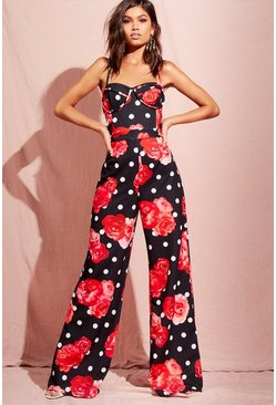Womens Black Polka Dot Floral Cup Detail Jumpsuit