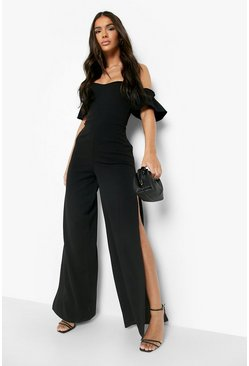 Womens Black Bardot Gathered Sleeve Wide Leg Jumpsuit