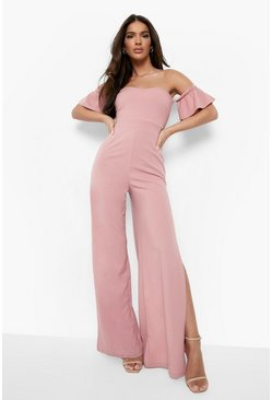 Womens Blush Bardot Gathered Sleeve Wide Leg Jumpsuit