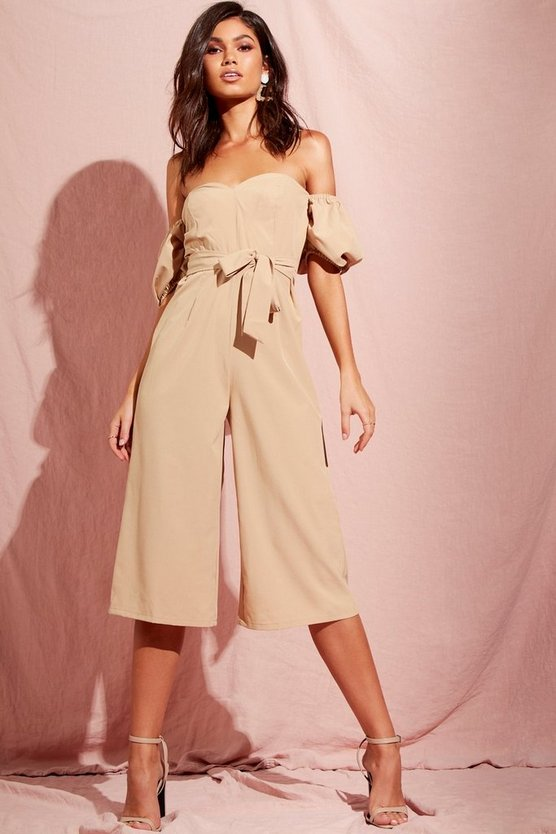 Puff Sleeve Belted Culotte Jumpsuit