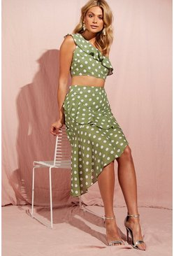 Womens Sage Polka Dot Check Asymmetric Frill Midi Skirt