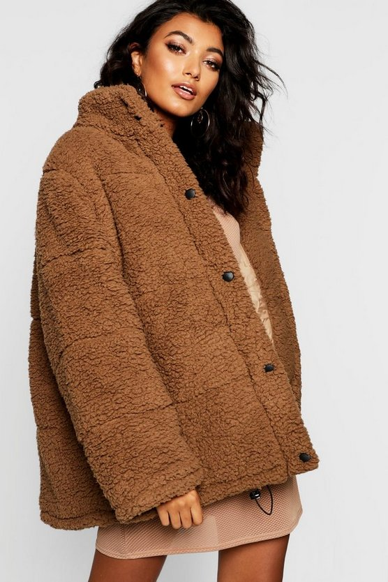 Womens Mocha Oversized Fleece Puffer Jacket