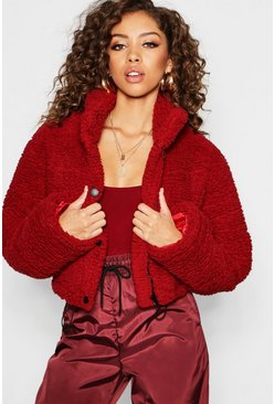Womens Wine Crop Fleece Oversized Puffer Jacket