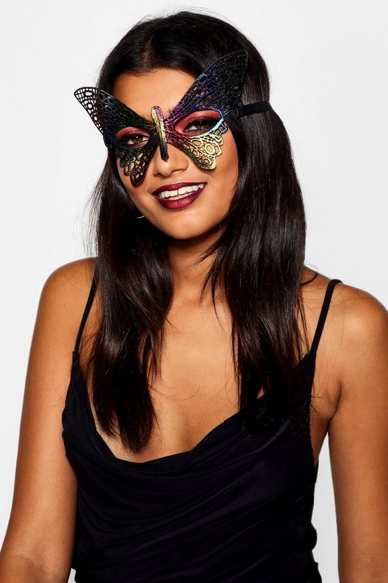 Womens Multi Rainbow Butterfly Mask