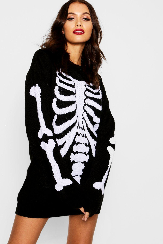 a6fe409817f Halloween Skeleton Knitted Jumper Dress