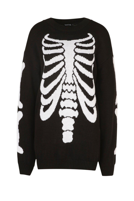 Halloween para punto suéter de Vestido esqueleto de negro estilo ZaSwWq4z