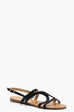 Plait Asymmetric Sandals