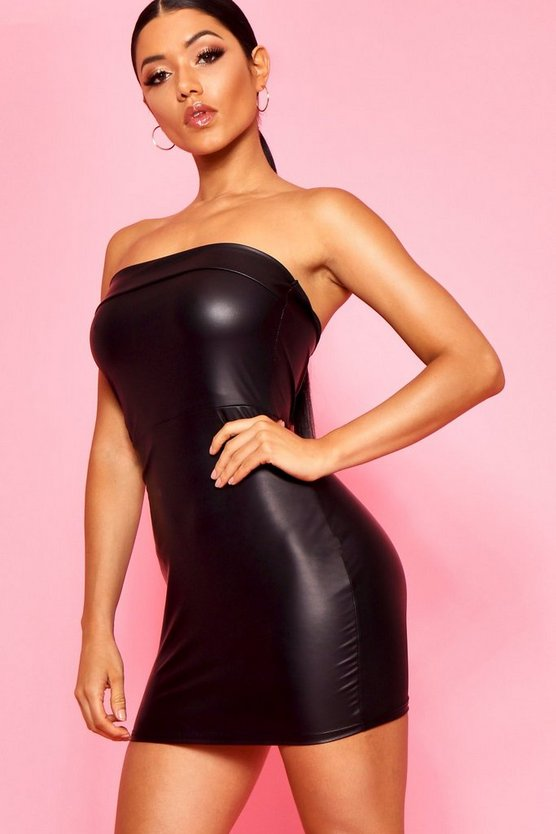 Womens Black High Shine Bandeau Dress