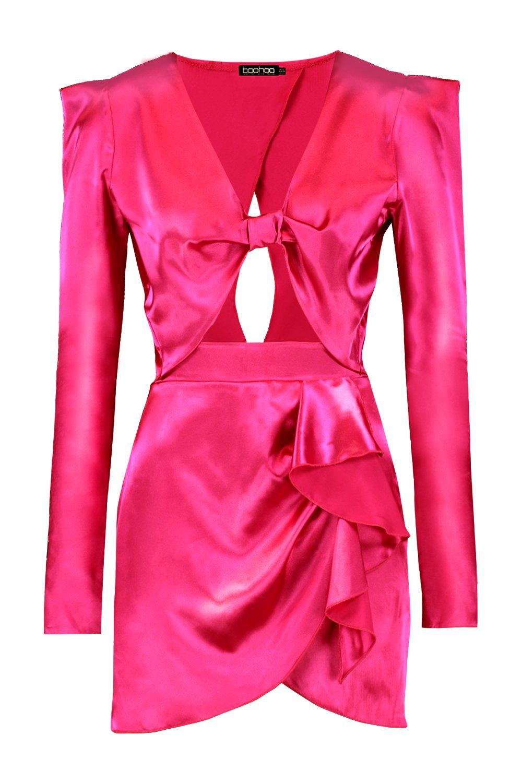 Ord Detail Front amp; Skirt Satin pink hot Co Wrap Top Ruffle WAP8fq4qT