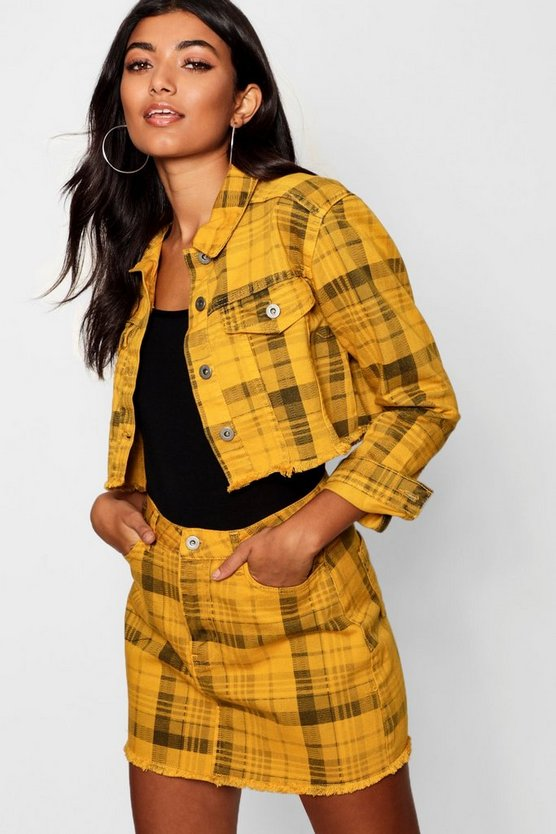 Yellow Check Cropped Denim Jacket