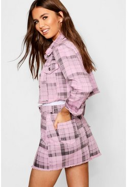 Womens Pink Check Denim Skirt