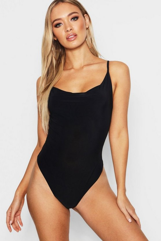 Womens Cowl Neck Cami Thong Bodysuit