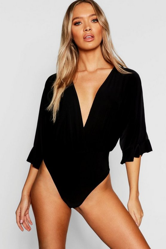 Womens Black Wrap Wide Sleeve Frill Thong Bodysuit