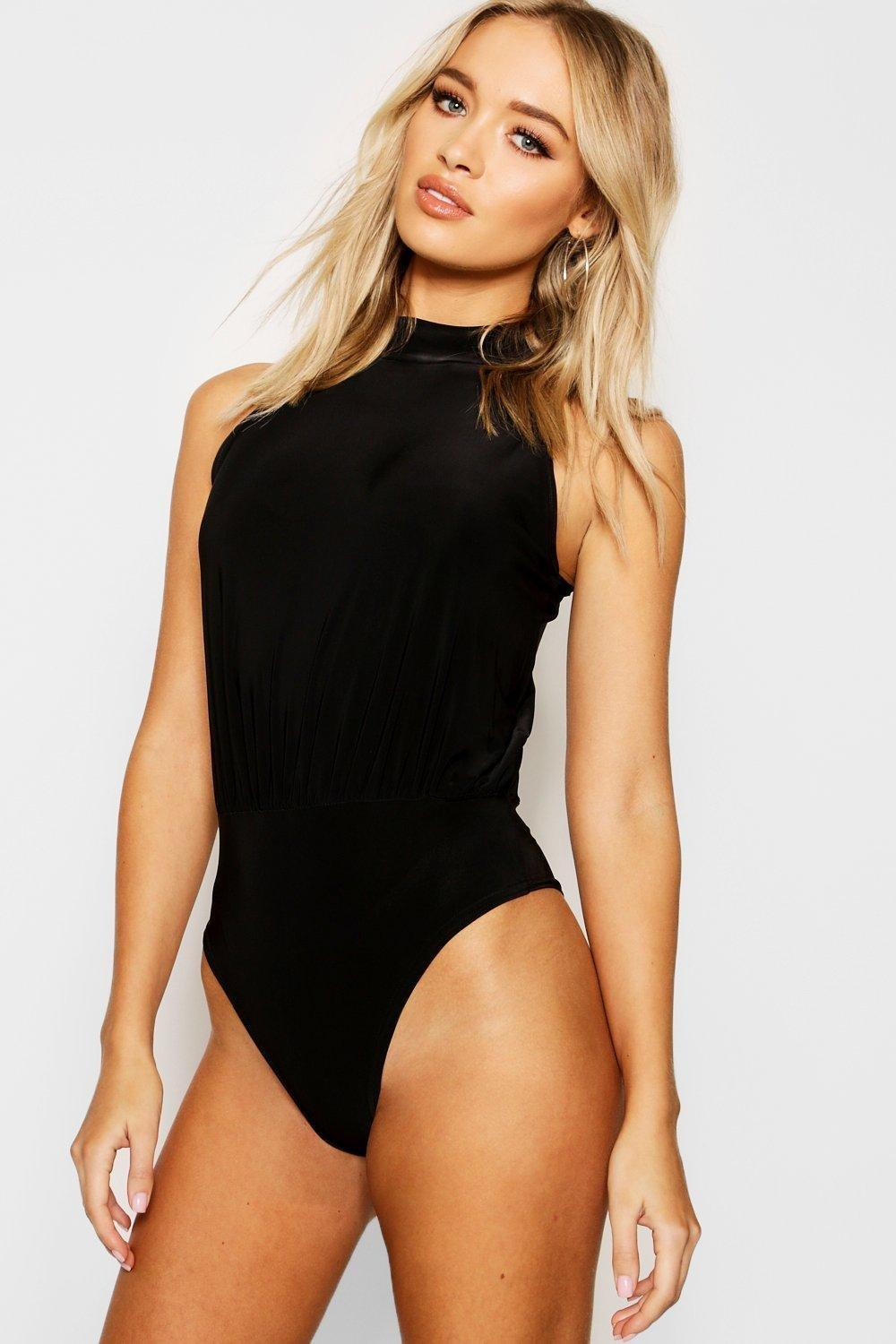Neck black Thong Sleeveless Bodysuit High TPqOxAP