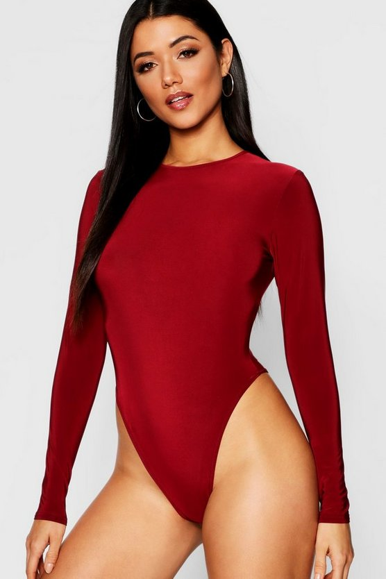 Berry Round Neck Long Sleeve Thong Bodysuit