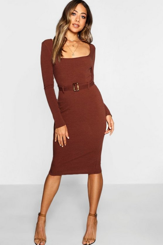 Ribbed Belted Midi Dress