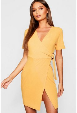Womens Mustard Wrap Rib Tort Shell Dress