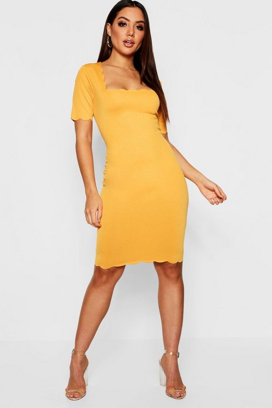 Scallop Edge Midi Dress