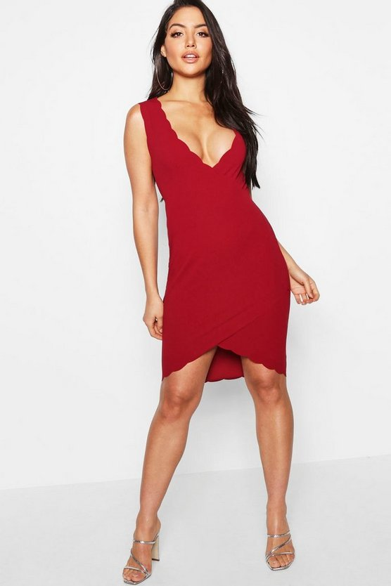 Wrap Scallop Edge Wrap Dress