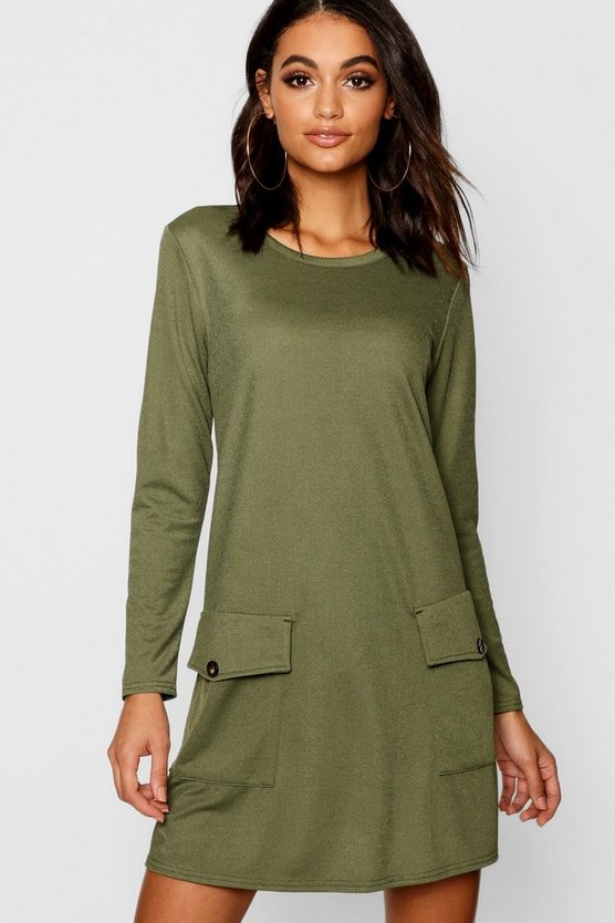 Button Pocket Detail Shift Dress