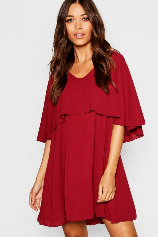 Woven Cape Detail Skater Dress