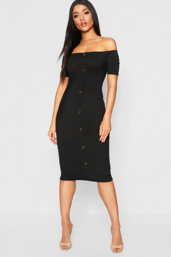 Mock Horn Button Rib Off Shoulder Midi Dress