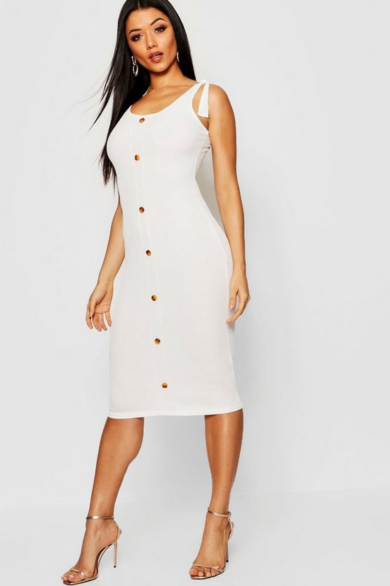 Tie Shoulder Rib Mock Horn Button Midi Dress