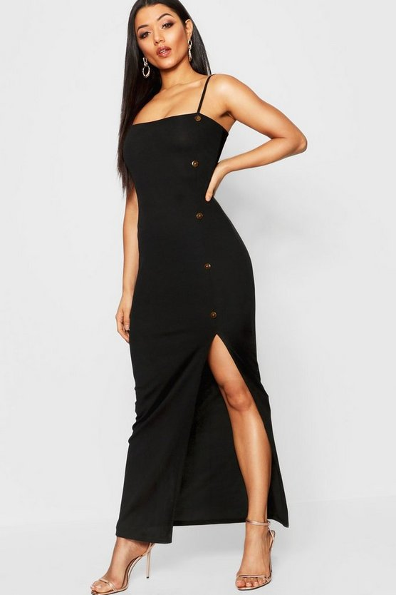 Mock Horn Button Rib Split Maxi Dress