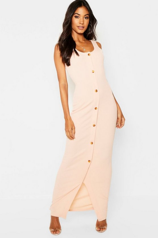 Mock Horn Button Ribbed Maxi Dress