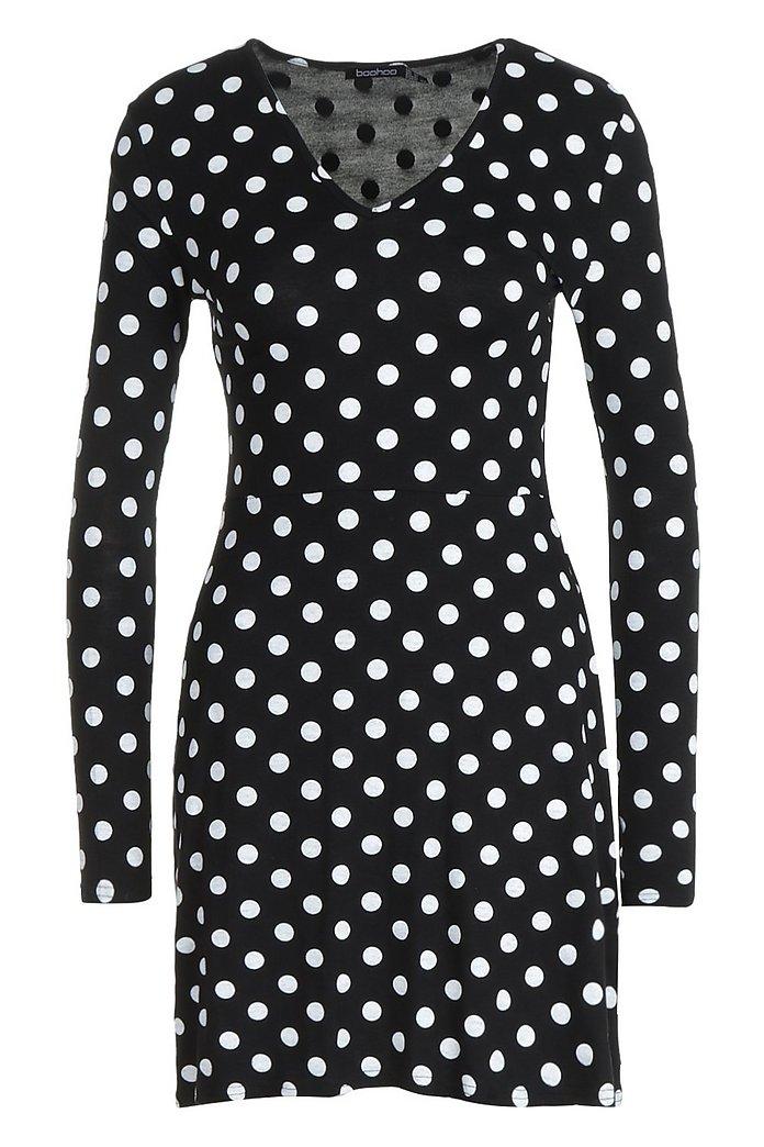 Plus Size Polka Dot Printed V Neck Skater Dress GRAY
