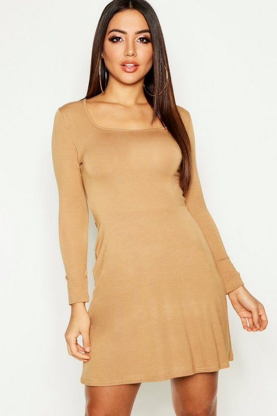 Square Neck Long Sleeve Skater Dress