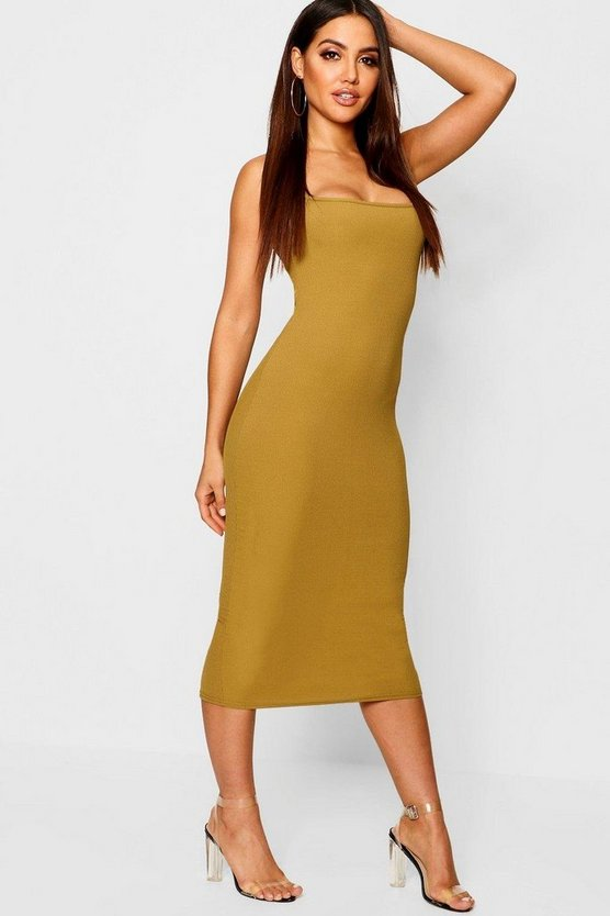 Ribbed 90's Strappy Midi Dress
