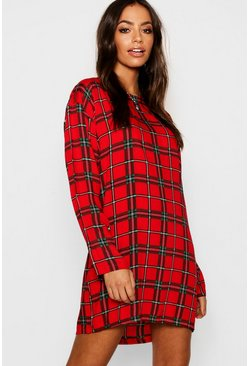 Womens Red Long Sleeve Tartan Shift Dress
