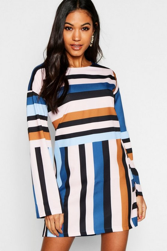 Womens Navy Long Sleeve Mixed Stripe Shift Dress